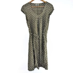 Cottagecore Polka Dot Linen Dress Made in Italy M